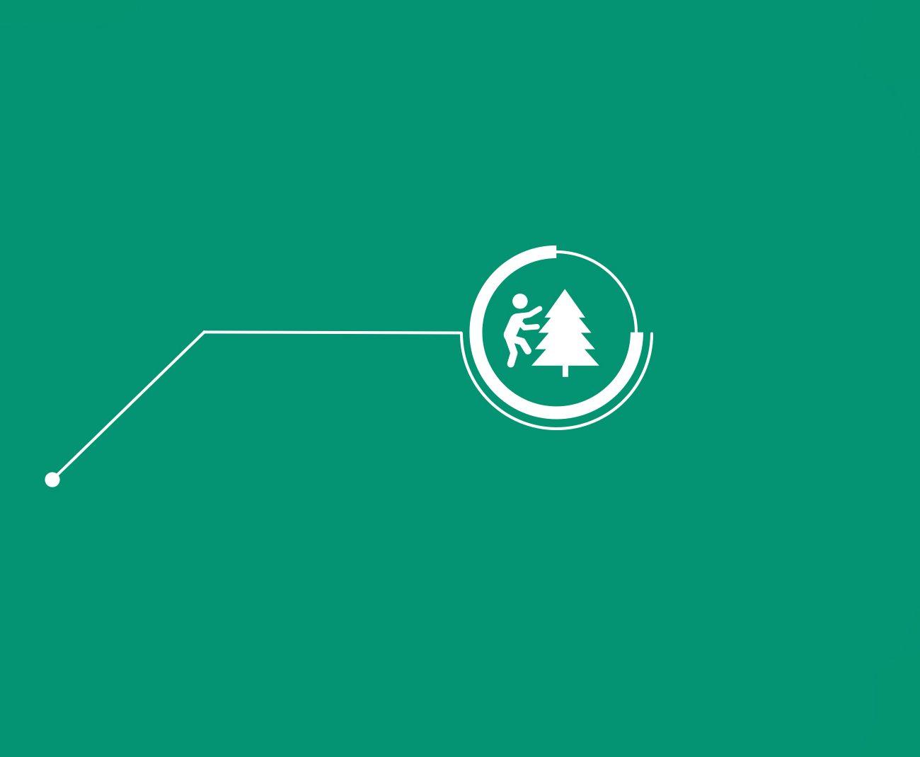 Hvitt ikon at person som klatrer i tre, med grønn bakgrunn
